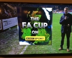 ECFC v Liverpool Emirates FA cup tie MSL Advertising board on the BBC!